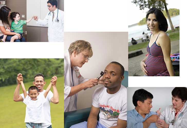 collage of health care images including people getting exams and vaccinations